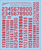 Red numbers  6,5 -13 mm high (for roundels R01)