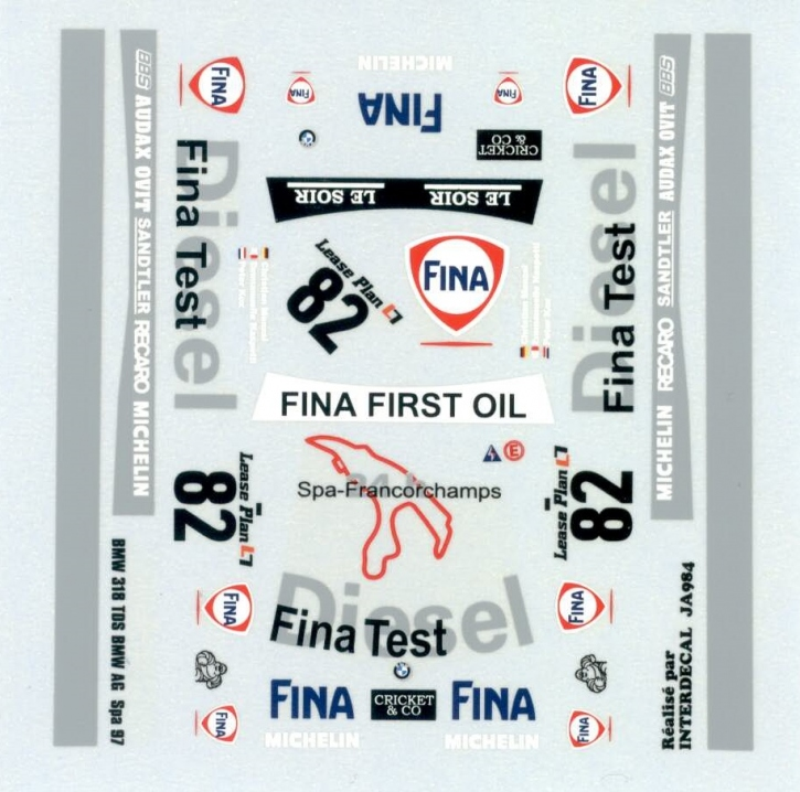 BMW 318tds BMW AG 24H Spa 1997 Decal 1/43 JA0984