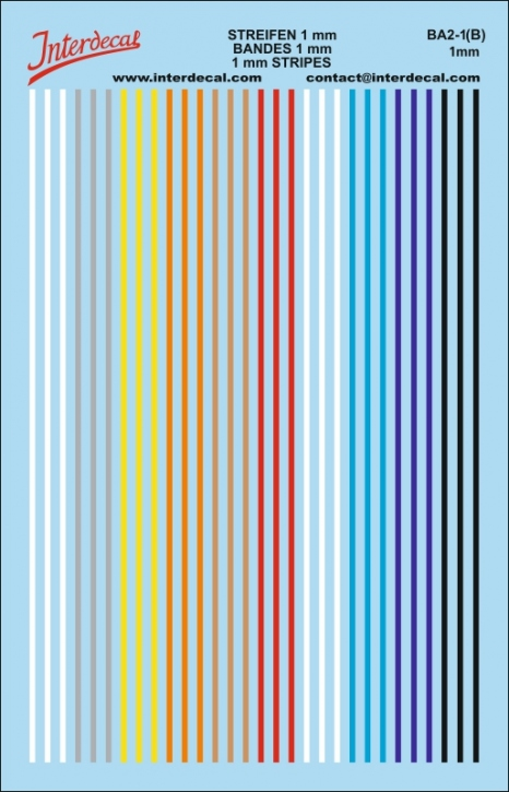 Stripes Decal 1 mm assorted colors