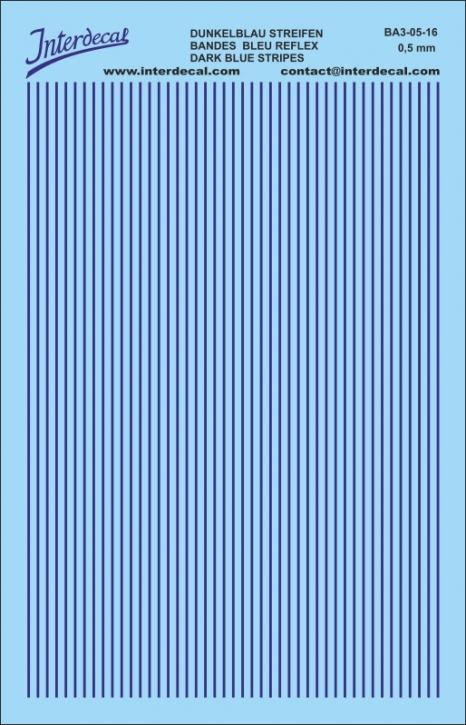 Streifen Decal 0,5 mm dunkelblau (90x140 mm)
