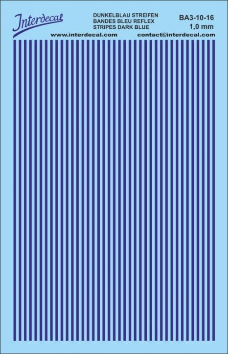Streifen Decal 1 mm dunkelblau (90x140 mm)