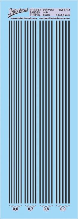 Streifen schwarz 0,6-0,9 mm