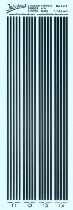Streifen schwarz 1,1-1,4 mm