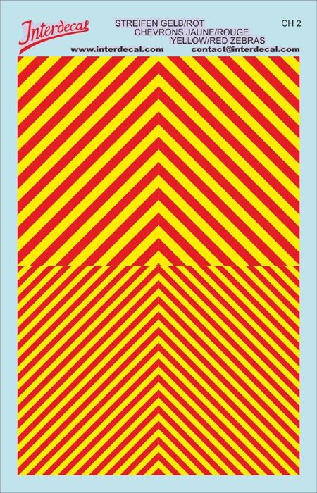 Chevrons 1/43 (90 x140 mm) yellow fluorescent / red