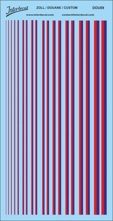 Französischer Zoll Streifen Decals (195x95 mm) reflexblau / rot