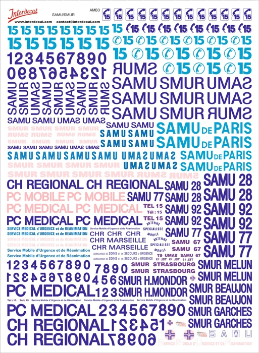 French emergency vehicle  SAMU - SMUR  (170x230 mm)
