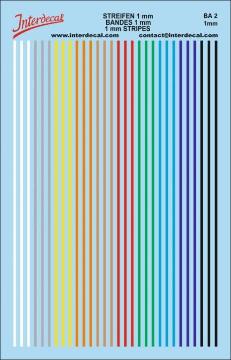Streifen Decal 1 mm verschiedene Farben