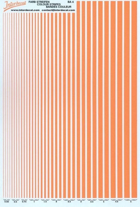 Streifen  0,25 - 5,0 mm  orange Tagesleuchtfarbe (130x190 mm)