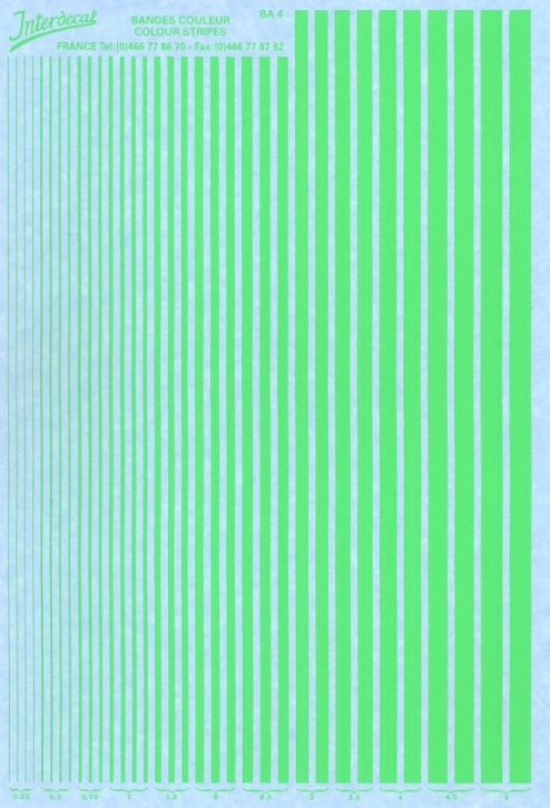 Streifen  0,25 - 5,0 mm  grün Tagesleuchtfarbe (130x190 mm)