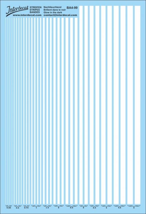 Streifen 0,25 - 5,0 mm phosphoreszierend (130x190 mm)