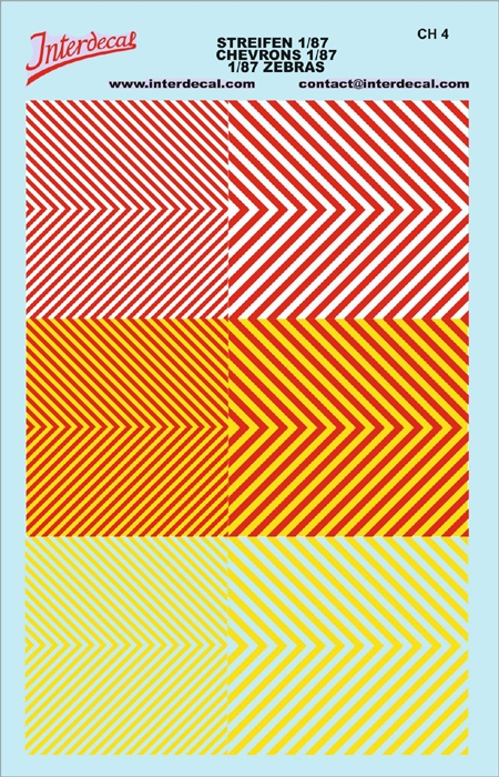 Chevrons 1/87 (90 x140 mm) yellow fluorescent/red/yellow