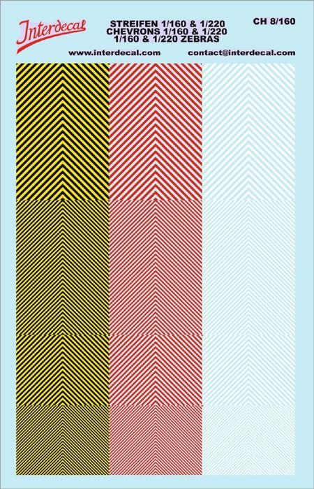 Warnstreifen 1/160 u. 1/220 (90 x140 mm) gelb/ Schwarz/ rot /weiss
