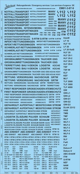 Rettungsdienste schwarz Decal DE 03 1/87 (195x90 mm)