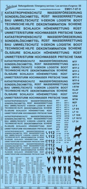 Rettungsdienste schwarz Decal DE 07 1/87 (195x90 mm)