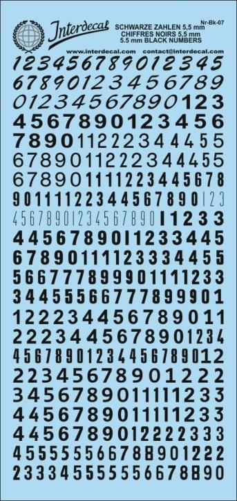 Schwarze Zahlen 7 5,5 mm (80x180 mm)