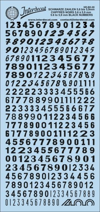 Schwarze Zahlen 8 5,6 - 5,9 mm (80x180 mm)