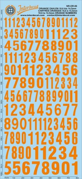 Orangene Zahlen 6 10,6-14,5 mm (180x80 mm)