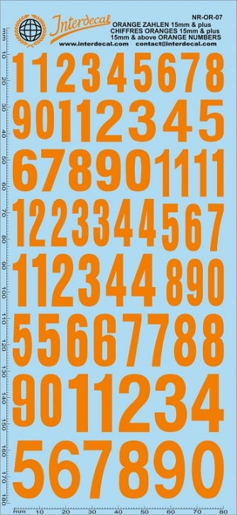 Orange numbers 7 15,0+ mm (180x80 mm)