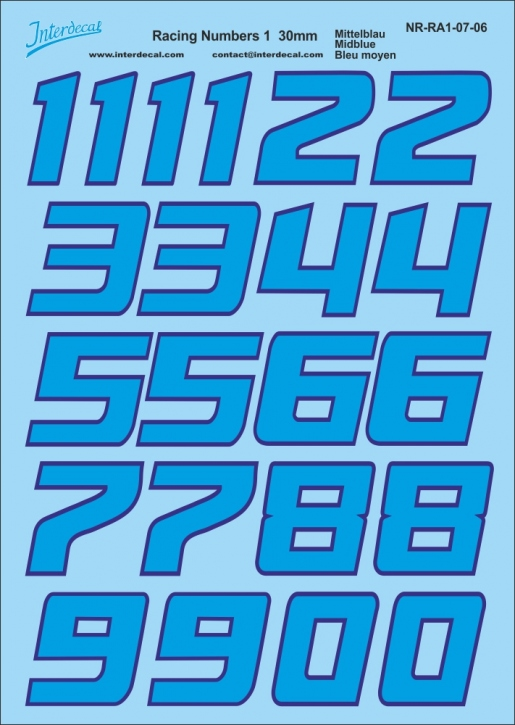 Midblue-Reflexblue numbers (130x190 mm)