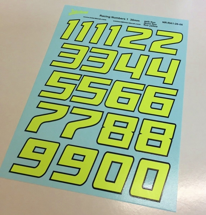 Fluorecent yellow-black numbers (80x180 mm)