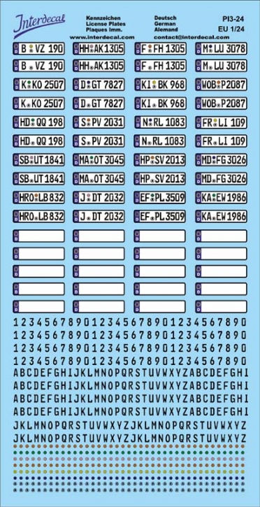 German registration plates (Euro) Decal 1/24
