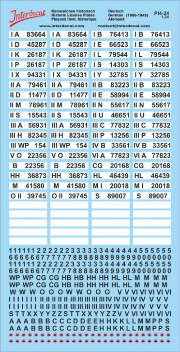 German registration plates (historical) Decal 1/24
