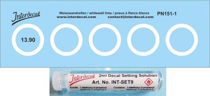 Decals + Decal Setting Solution  Weisswandreifen  (13,9 x 10,5 mm) 1/43 (90x29m)