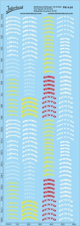 Tyre decals 4 18-19 Inch 1/24  (180x60 mm)