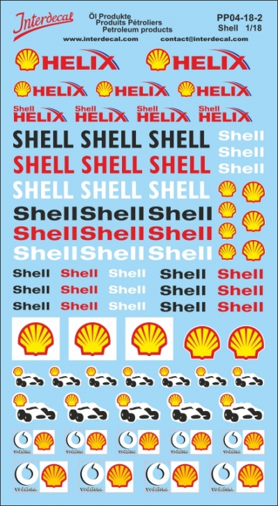 Öl Produkte 4 Shell Sponsoren Decal 1/18 (200x110 mm)