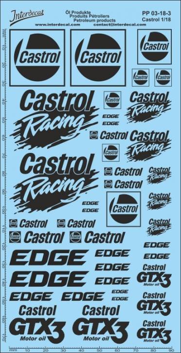 Öl Produkte 6-3 Castrol Sponsoren Decal 1/18 (195x90 mm)
