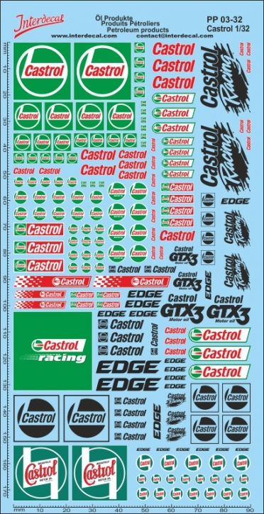 Öl Produkte 6 Castrol Sponsoren Decal 1/32 (195x90 mm)