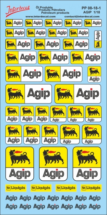 Öl Produkte 8 Agip Sponsoren Decal 1/18 (200x110 mm)