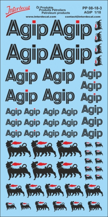Petroleum products 8 Agip sponsors Decal 1/18 (200x110 mm)