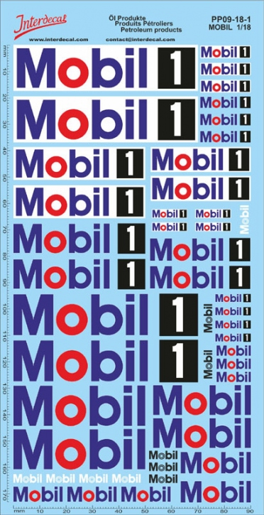 Öl Produkte 09-1  MOBIL  Sponsoren Decal 1/18 (195x100 mm)