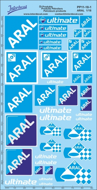 Öl Produkte 11-1 Aral Sponsoren Decal 1/18 (195x100 mm)