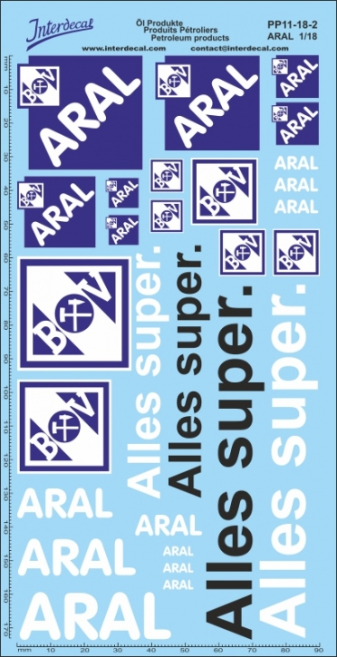 Öl Produkte 11-2 Aral Sponsoren Decal 1/18 (195x100 mm)
