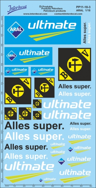 Öl Produkte 11-3 Aral Sponsoren Decal 1/18 (195x100 mm)