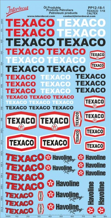 Petroleum products  12-1 Texaco/Caltex sponsors Decal 1/18 (195x100 mm)