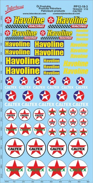 Petroleum products  12-3 Texaco/Caltex sponsors Decal 1/18 (195x100 mm)