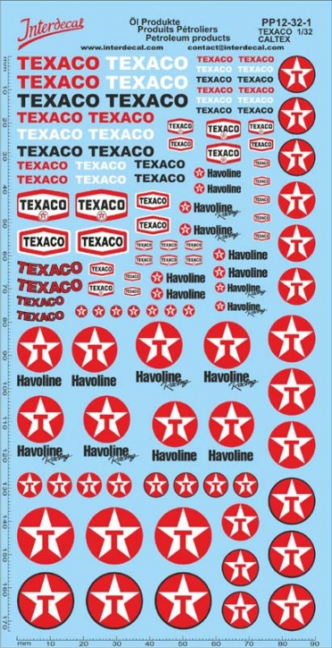 Öl Produkte 12-1 Texaco/Caltex Sponsoren Decal 1/32 (195x100 mm)