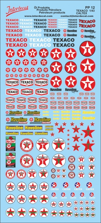 Petroleum products 12 Texaco sponsors Decal  (90x200 mm)