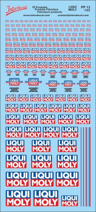 Petroleum products 13 LIQUI MOLY sponsors Decal 1/43 (200x110 mm)