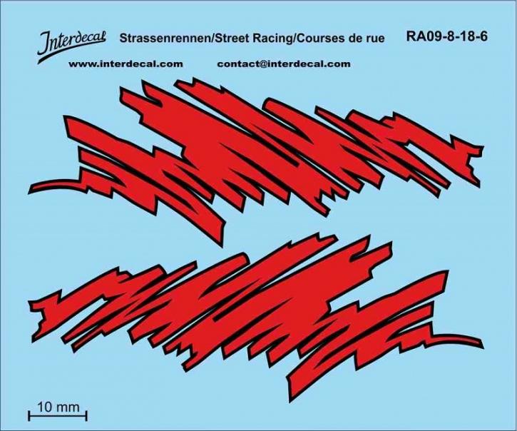 Seitendekor Design 1/18 rot/schwarz (90 x 75mm)