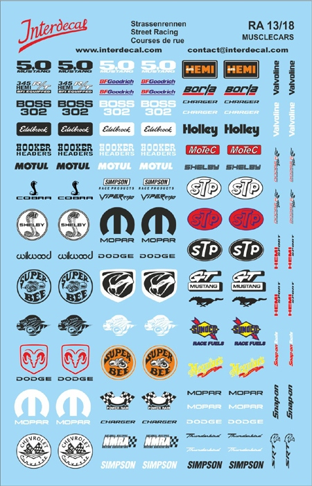 Street Racing Musclecars Decal 13  1/18 (140x90 mm)