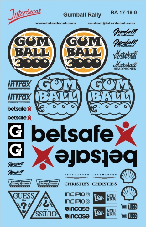 Gumball Rally Decals black 1/18 (140x90 mm)