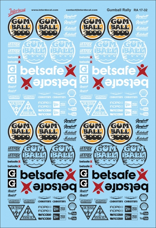 Gumball Rally Decals 1/32 (100x150 mm)