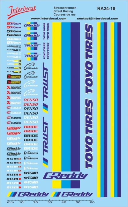 Streetracing / JDM / Sponsors Decals 1/18 (140x90 mm)