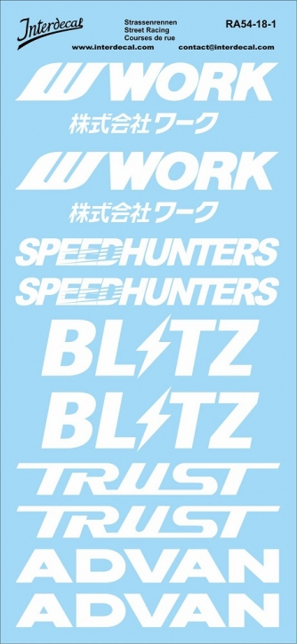 Streetracing JDM Drift Tuning Decal 1/18