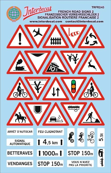 Traffic signs France 02 _1/43  (90x140 mm)