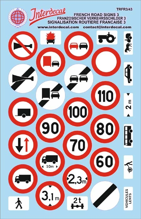 Traffic signs France 03 _1/43  (90x140 mm)